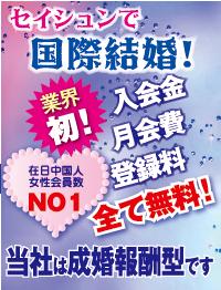 入会金、月会費、登録料全て無料!!セイシュンは成婚報酬型です。在日中国人女性会員数NO.1